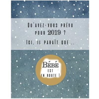 Carte à gratter Annonce de grossesse Bonne année 2019
