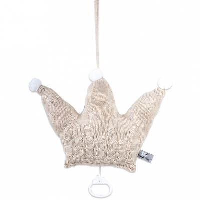 Coussin musical couronne Cable Uni beige (30 cm) Baby's Only