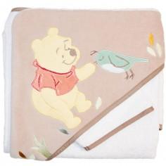 Cape de bain et gant Winnie l'ourson taupe et blanche (80 x 80 cm)