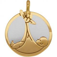 Médaille Bébé personnalisable (acier et or jaune 750°)