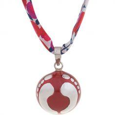 Bola sur ruban liberty Adeek rouge (argent 925°)