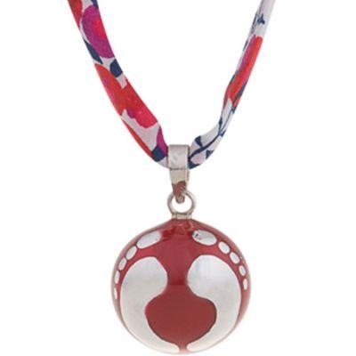 Bola sur ruban liberty Adeek rouge (argent 925°)  par Nativee