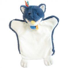 Doudou marionnette Loup bleu indien