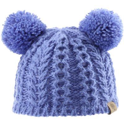 Bonnet en tricot 2 pompons bleu (6-12 mois)