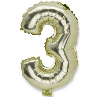 Grand ballon en mylar chiffre 3 doré (86 cm)  par Arty Fêtes Factory