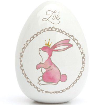 Oeuf en porcelaine lapin (personnalisable)  par Gaëlle Duval