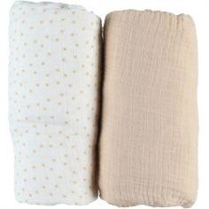 Lot de 2 draps housses en mousseline de coton beige (60 x 120 cm)