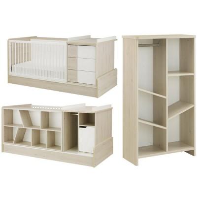 Pack duo Sacha lit bébé compact évolutif et bibliothèque