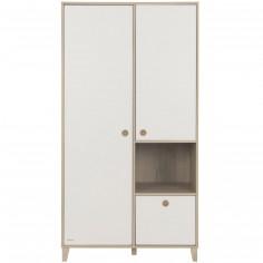 Armoire 2 portes avec 1 tiroir blanc amovible Lora