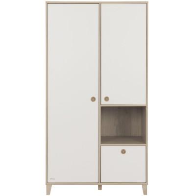 Armoire 2 portes avec 1 tiroir blanc amovible Lora  par Galipette