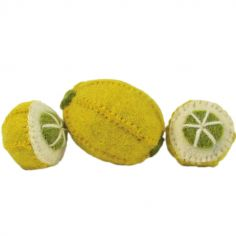 Lot de 3 citrons en feutrine