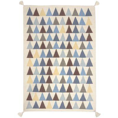 Tapis garçon Kilim bleu triangles (110 x 160 cm) Art for Kids