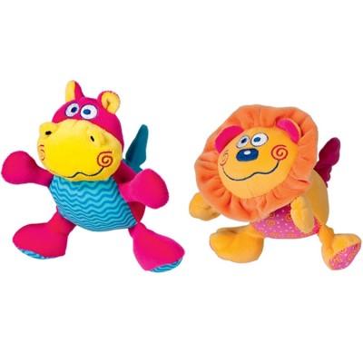 Lot de 2 peluches vibrantes hippopotame et lion