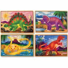 Set petits puzzles en bois Dinosaures (4 puzzles)