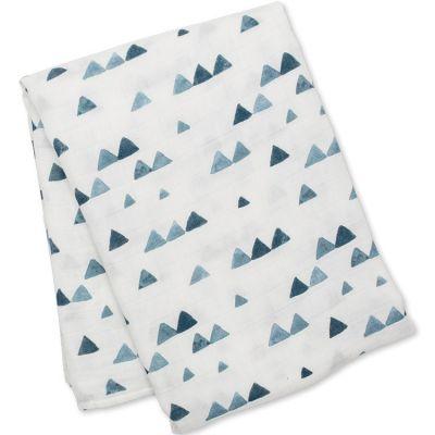 Maxi lange en bambou et coton Triangles bleus (120 x 120 cm)  par Lulujo