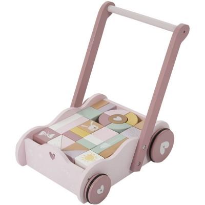 Chariot de marche avec blocs de construction Adventure pink  par Little Dutch