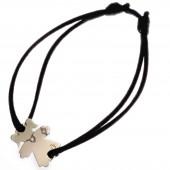 Bracelet cordon petite fille ou petit garçon collier et bracelet diamant 20 mm (or blanc 750°) - Loupidou