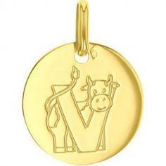 Médaille V comme vache (or jaune 750°)
