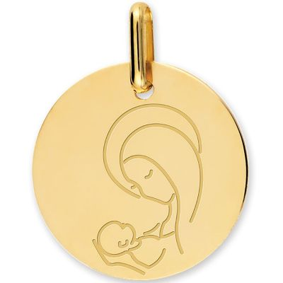 Médaille Vierge à l'enfant personnalisable (or jaune 750°)  par Lucas Lucor