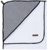 Cape de bain Sun blanche et noire (100 x 100 cm) - Baby's Only