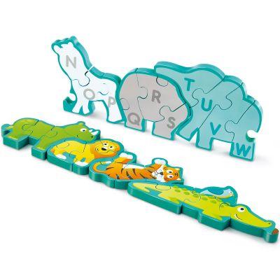 Puzzle en bois réversible animaux de la savane et alphabet (26 pièces)