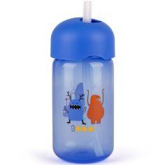 Gourde à paille Booo bleue (340 ml)