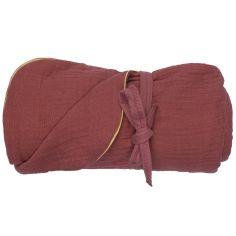 Couverture bébé en coton marsala (65 x 90cm)