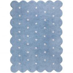 Tapis lavable biscuit bleu à pois (120 x 160 cm)