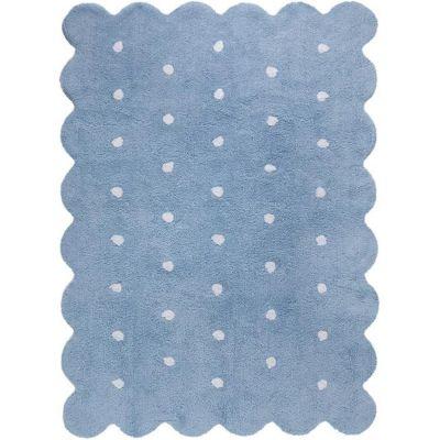 Tapis lavable biscuit bleu à pois (120 x 160 cm)  par Lorena Canals