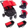 Pack Trio Poussette Double Easy Twin 3.0S rouge - Baby Monsters