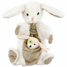 Marionnette lapin à main + marionnette à doigt chien