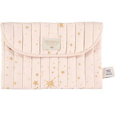 Pochette de change Bagatelle coton bio Gold stella Dream pink  par Nobodinoz