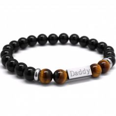 Bracelet homme en perles agate noire et oeil de tigre (personnalisable)