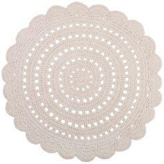 Tapis lavable rond Alma crochet écru lavable en machine (120 cm)