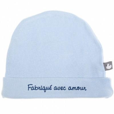 Bonnet de naissance Fabriqué avec amour bleu ciel  par BB & Co
