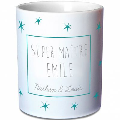 Mug Maîtresse étoiles bleues (personnalisable)  par Les Griottes