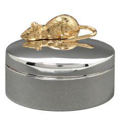 Boîte Ma Première Dent avec souris couchée personnalisable (métal argenté)