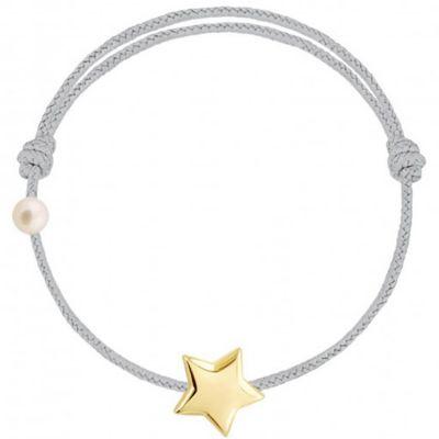 Bracelet cordon Etoile et perle  gris (or jaune 750°)  par Claverin