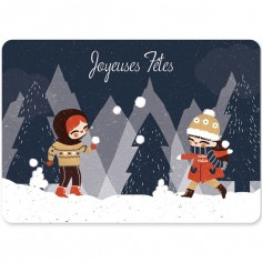 Carte de voeux A6 Joyeuses fêtes Neige