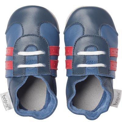 Chaussons bébé en cuir Soft soles Basket bleus  (9-15 mois)  par Bobux