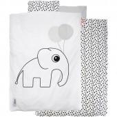 Housse de couette bébé + taie Dots éléphant blanc (100 x 140 cm) - Done by Deer