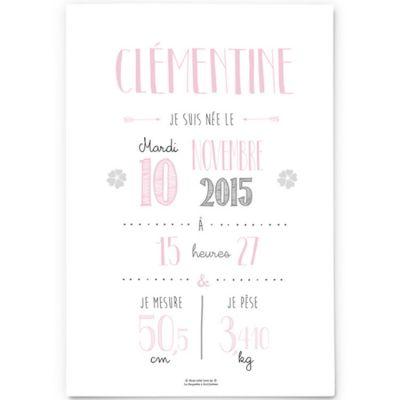 Affiche de naissance A3 rose pâle (personnalisable)  par La Poupette à paillettes