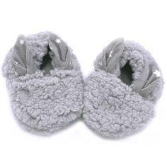 Chaussons de naissance lapin en sherpa gris (0-6 mois)