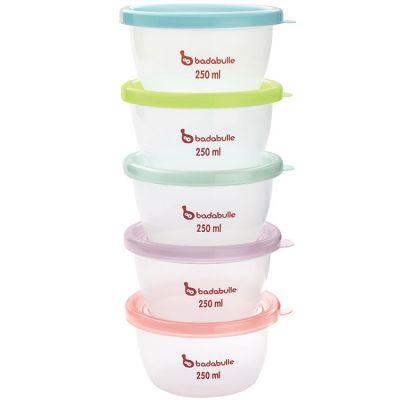 Lot de 5 pots de conservation pastel (250 ml)  par Badabulle