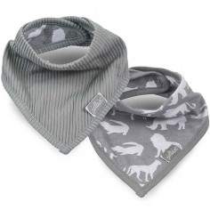 Lot de 2 bavoirs bandana Safari gris