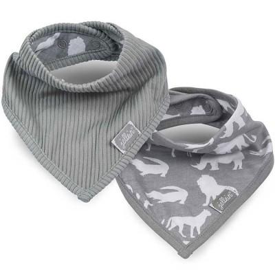 Lot de 2 bavoirs bandana Safari gris  par Jollein