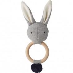Hochet peluche Aria lapin gris