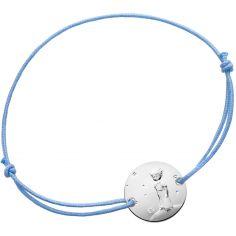 Bracelet Le Petit Prince sur sa planète cordon bleu (argent 950°)