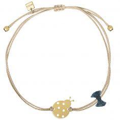 Bracelet cordon beige Nature coccinelle (vermeil doré)