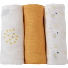 Lot de 3 langes en coton moutarde (70 x 70 cm)